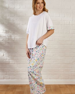 Multi Coloured Floral Tailored Short Sleeve Woven Pyjama