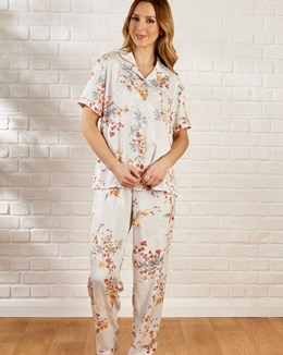 Floral Print Short Sleeve Tailored Woven Pyjama