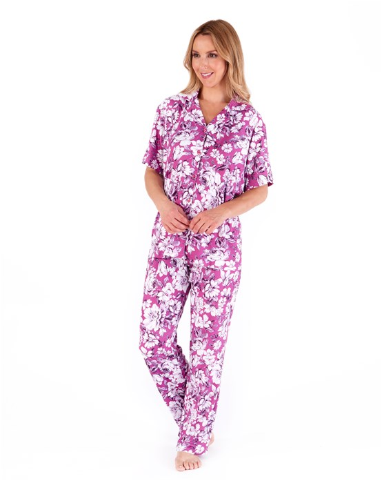Supersoft Bold Floral Short Sleeve Button Through Pyjama